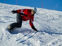 Downhill with snowboard