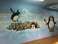 Pinguinos en la pared