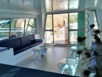 Covered lounge area in the boat