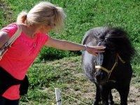 acariciando al pony