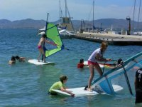 Attending windsurfing students
