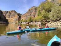 Grupo en canoas azules