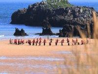 Entrenamiento de surf en la orilla