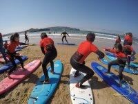 Aprendiendo posiciones de surf