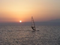 Windsurfing during the sunset