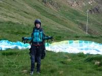 With the paragliding equipment in Castejon de Sos