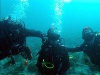 Trio de submarinistas en los fondos de Almeria
