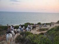 Ruta a caballo al lado de la costa