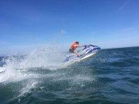Speeding up on the jet ski for rent