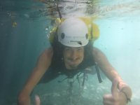 Diving in the water of the ravine