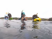 Teaching the little ones to go snorkelling in Noja