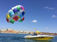 Motorboat used for parasailing