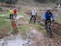 Road muddy by bike