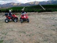 En quad delante de los cultivos