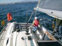 在帆船上练习