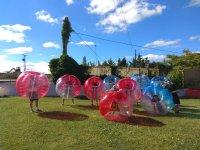 Friends inside the giant bubbles