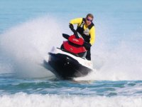 Accelerating on a single-seater jet ski