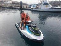 Con la moto de agua en el puerto de Lanzarote