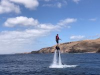 Standing testing the flyboard in Lanzarote