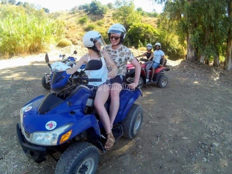 Compartiendo quad biplaza en Malaga