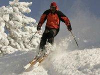 在学习专业的方式下坡滑雪