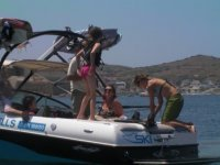 Students in a speedboat