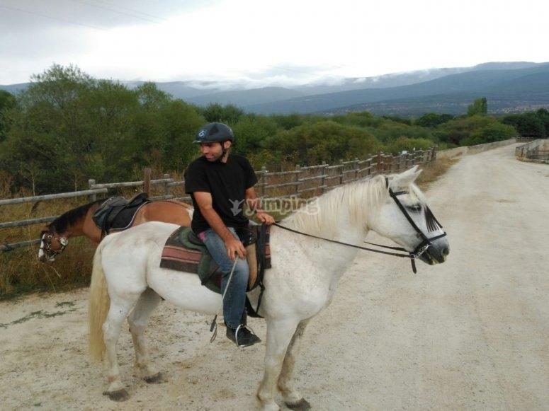 En ruta sobre el caballo en la Sierra de Madrid