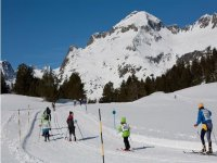 Skiers at the station