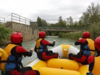 Approaching the bridge on the rafting raft