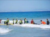 Learning water sports in the camp
