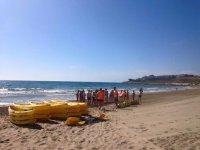 Preparing to leave in sea kayaks