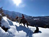 Paseo invernal a caballo en el Pirineo