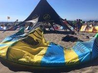 Kite extendido en la arena