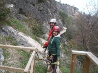 Wooden walkway in the ferrata
