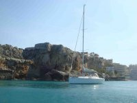 Sailboat in the cove of Blanes