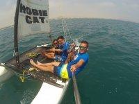 Sailing in a Hobie cat