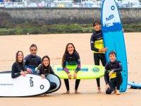 Students of the surf school of Gijon