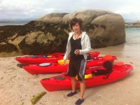 Con los kayaks en la playa de Areoso