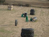 Paintball team playing