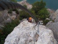 Climbing via via ferrata
