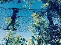 Puente de cuerdas en el parque de arborismo