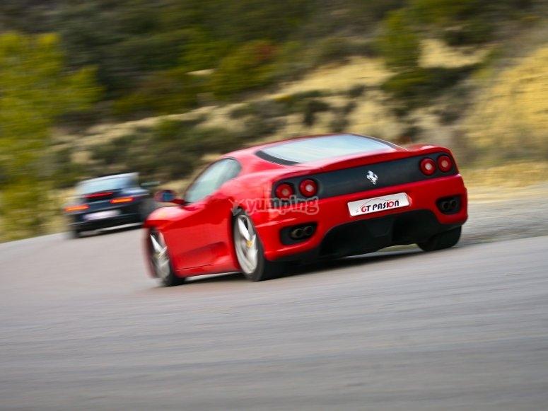 Driving a Ferrari car