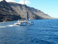 En barco hacia La Graciosa