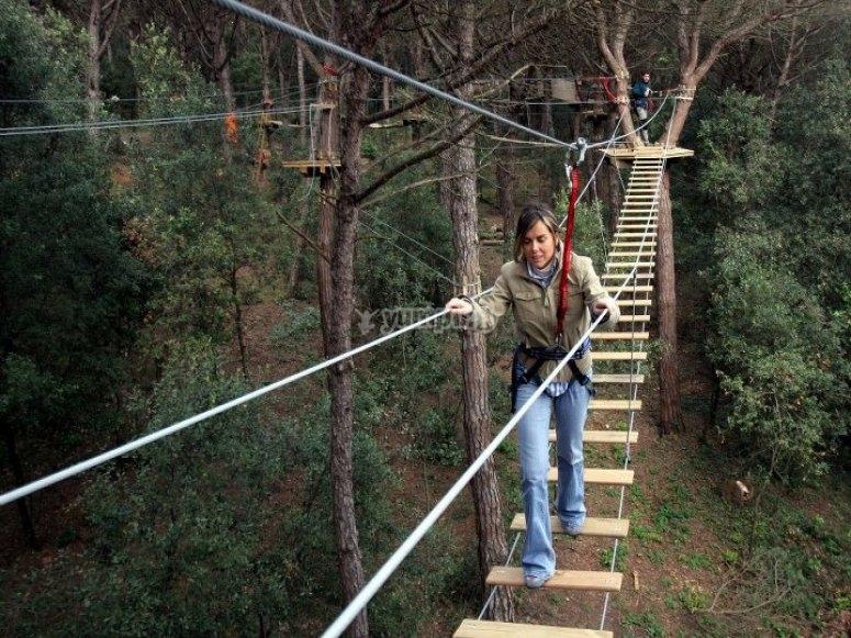 advancing on the hanging bridge