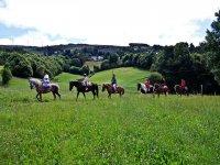 A caballo sobre los pastos