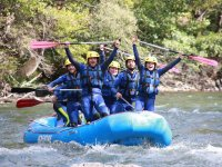 Standing on the rafting raft