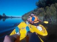 Kayaks amarillos en la ribera