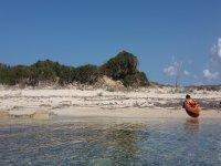 Lone canoe on the beach