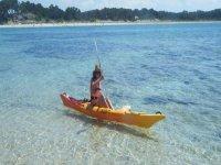 Canoeist at sea