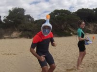In the sand with snorkeling mask
